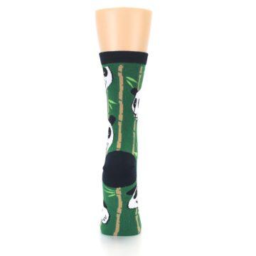Image of Green Black Happy Panda Women's Dress Socks (back-19)