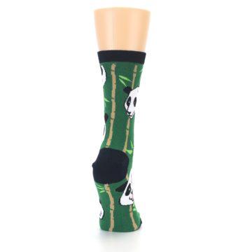 Image of Green Black Happy Panda Women's Dress Socks (side-1-back-20)