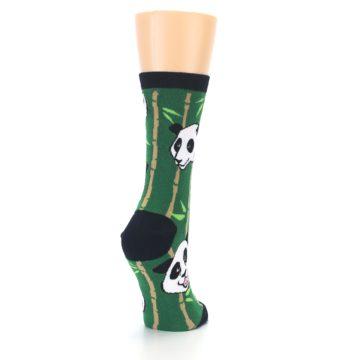 Image of Green Black Happy Panda Women's Dress Socks (side-1-back-21)