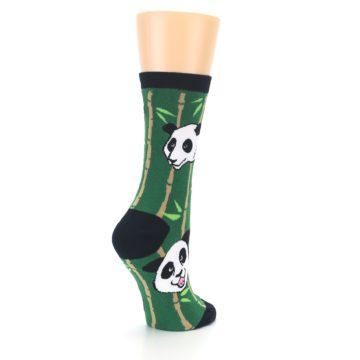 Image of Green Black Happy Panda Women's Dress Socks (side-1-back-22)