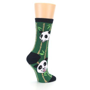 Image of Green Black Happy Panda Women's Dress Socks (side-1-23)