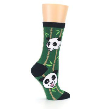 Image of Green Black Happy Panda Women's Dress Socks (side-1-24)
