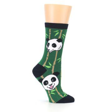 Image of Green Black Happy Panda Women's Dress Socks (side-1-25)