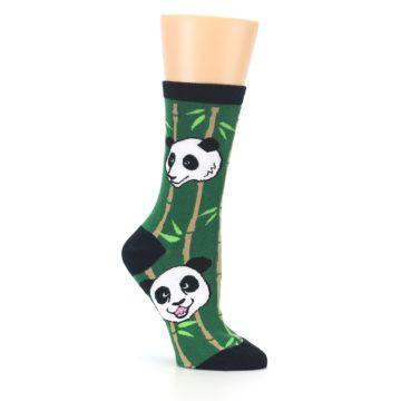 Image of Green Black Happy Panda Women's Dress Socks (side-1-26)