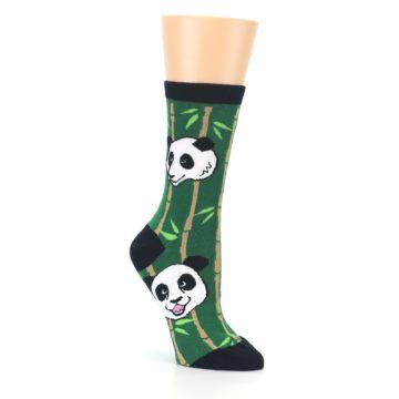 Image of Green Black Happy Panda Women's Dress Socks (side-1-27)
