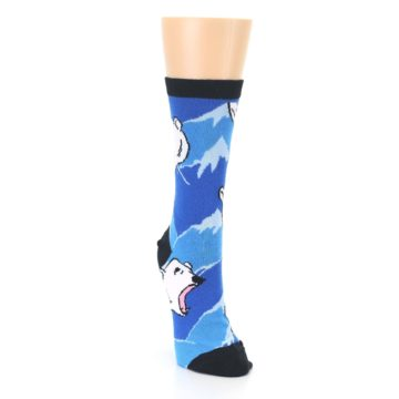 Image of Blue Black Polar Bear Women's Dress Socks (side-1-front-03)