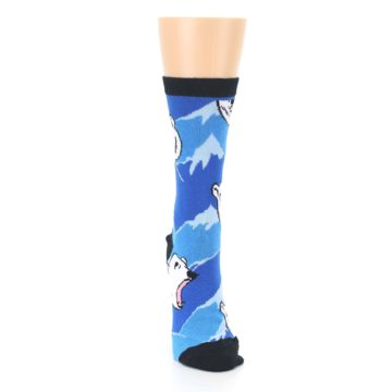 Image of Blue Black Polar Bear Women's Dress Socks (front-04)