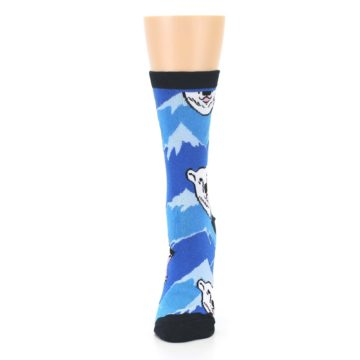 Image of Blue Black Polar Bear Women's Dress Socks (side-2-front-06)