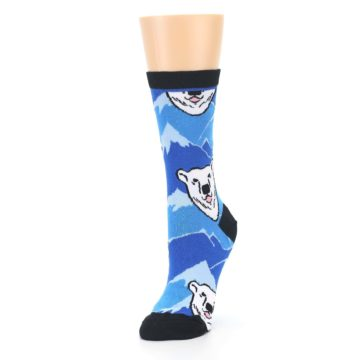 Image of Blue Black Polar Bear Women's Dress Socks (side-2-front-08)