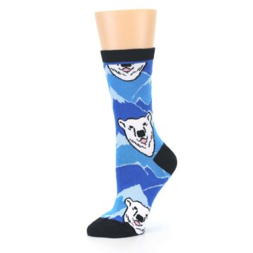 Image of Blue Black Polar Bear Women's Dress Socks (side-2-10)