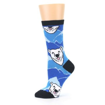 Image of Blue Black Polar Bear Women's Dress Socks (side-2-11)