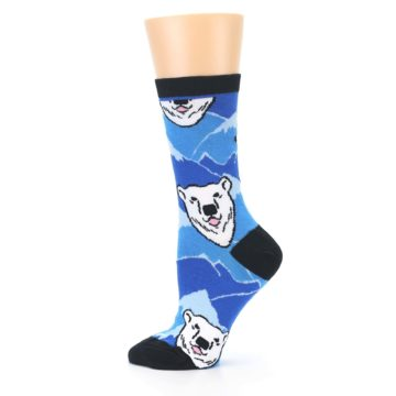 Image of Blue Black Polar Bear Women's Dress Socks (side-2-12)