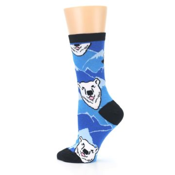 Image of Blue Black Polar Bear Women's Dress Socks (side-2-13)