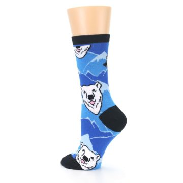 Image of Blue Black Polar Bear Women's Dress Socks (side-2-back-14)