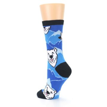 Image of Blue Black Polar Bear Women's Dress Socks (side-2-back-15)