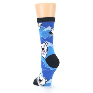Image of Blue Black Polar Bear Women's Dress Socks (side-2-back-16)