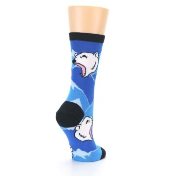 Image of Blue Black Polar Bear Women's Dress Socks (side-1-back-22)