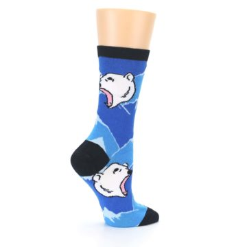 Image of Blue Black Polar Bear Women's Dress Socks (side-1-24)