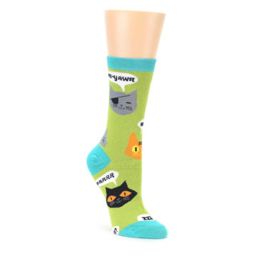 Image of Lime Green Talking Cats Women's Dress Socks (side-1-front-01)