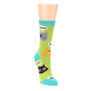 Image of Lime Green Talking Cats Women's Dress Socks (side-1-front-02)