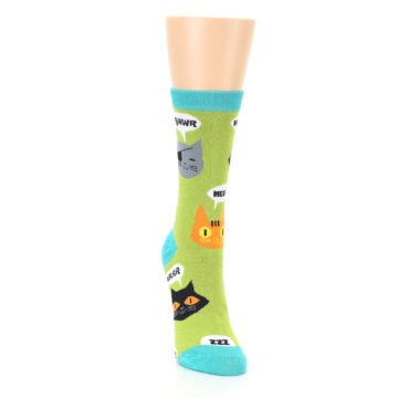 Image of Lime Green Talking Cats Women's Dress Socks (side-1-front-03)