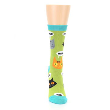Image of Lime Green Talking Cats Women's Dress Socks (front-04)
