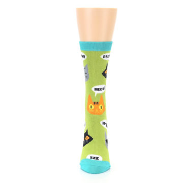 Image of Lime Green Talking Cats Women's Dress Socks (front-05)