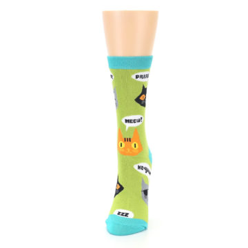 Image of Lime Green Talking Cats Women's Dress Socks (side-2-front-06)