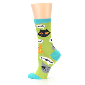 Image of Lime Green Talking Cats Women's Dress Socks (side-2-12)