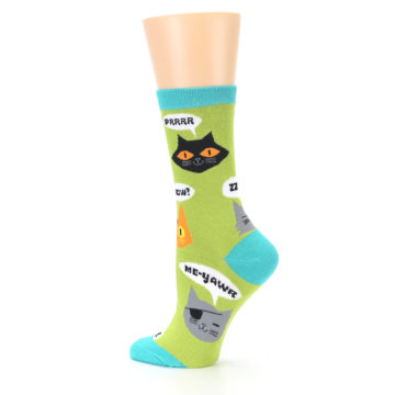 Image of Lime Green Talking Cats Women's Dress Socks (side-2-13)