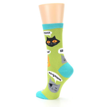 Image of Lime Green Talking Cats Women's Dress Socks (side-2-back-14)