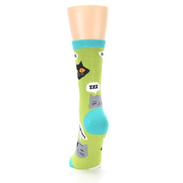 Image of Lime Green Talking Cats Women's Dress Socks (back-17)