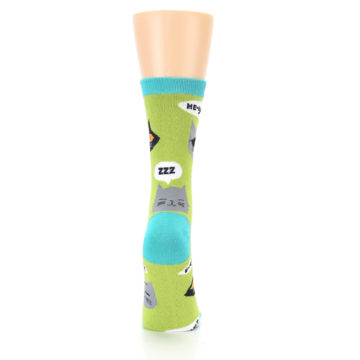 Image of Lime Green Talking Cats Women's Dress Socks (back-19)