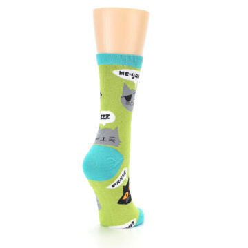 Image of Lime Green Talking Cats Women's Dress Socks (side-1-back-21)