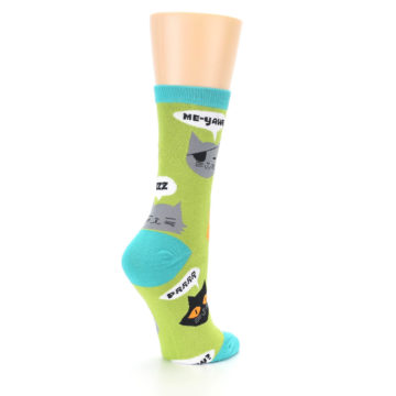 Image of Lime Green Talking Cats Women's Dress Socks (side-1-back-22)