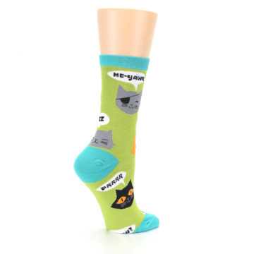 Image of Lime Green Talking Cats Women's Dress Socks (side-1-23)