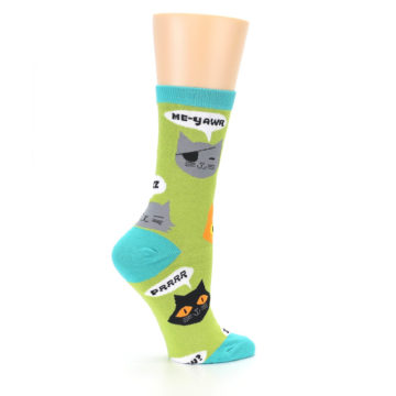 Image of Lime Green Talking Cats Women's Dress Socks (side-1-24)