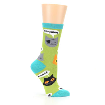Image of Lime Green Talking Cats Women's Dress Socks (side-1-25)