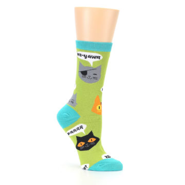 Image of Lime Green Talking Cats Women's Dress Socks (side-1-26)