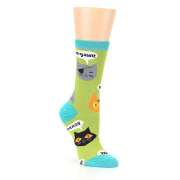 Image of Lime Green Talking Cats Women's Dress Socks (side-1-27)