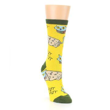 Image of Yellow Green Cat Burrito Women's Dress Socks (side-1-front-02)