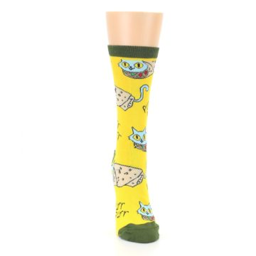 Image of Yellow Green Cat Burrito Women's Dress Socks (front-04)