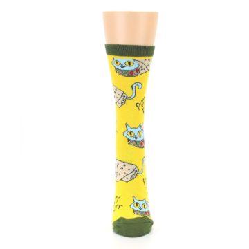 Image of Yellow Green Cat Burrito Women's Dress Socks (front-05)