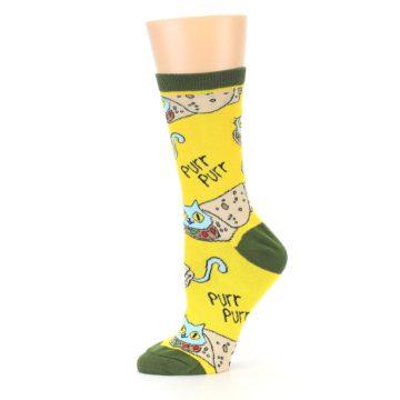 Image of Yellow Green Cat Burrito Women's Dress Socks (side-2-11)
