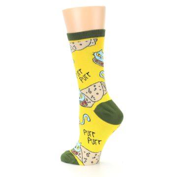 Image of Yellow Green Cat Burrito Women's Dress Socks (side-2-back-14)