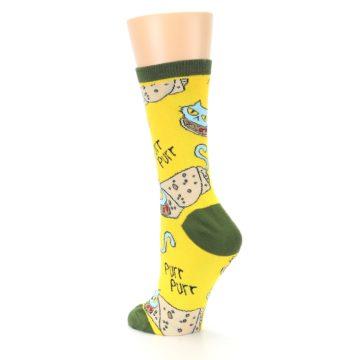 Image of Yellow Green Cat Burrito Women's Dress Socks (side-2-back-15)