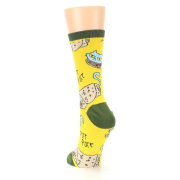 Image of Yellow Green Cat Burrito Women's Dress Socks (side-2-back-16)