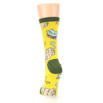 Image of Yellow Green Cat Burrito Women's Dress Socks (back-17)