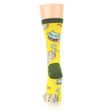 Image of Yellow Green Cat Burrito Women's Dress Socks (back-18)
