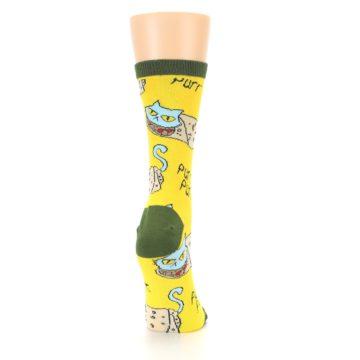 Image of Yellow Green Cat Burrito Women's Dress Socks (side-1-back-20)